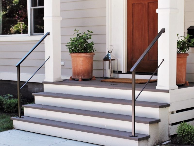 Classic Metal Handrails For Porch Steps Great Lakes Metal   Exterior Metal Handrails For Steps   Deck Railing   Outdoor Stair   Railing Systems   Wrought Iron Railings   Concrete Steps