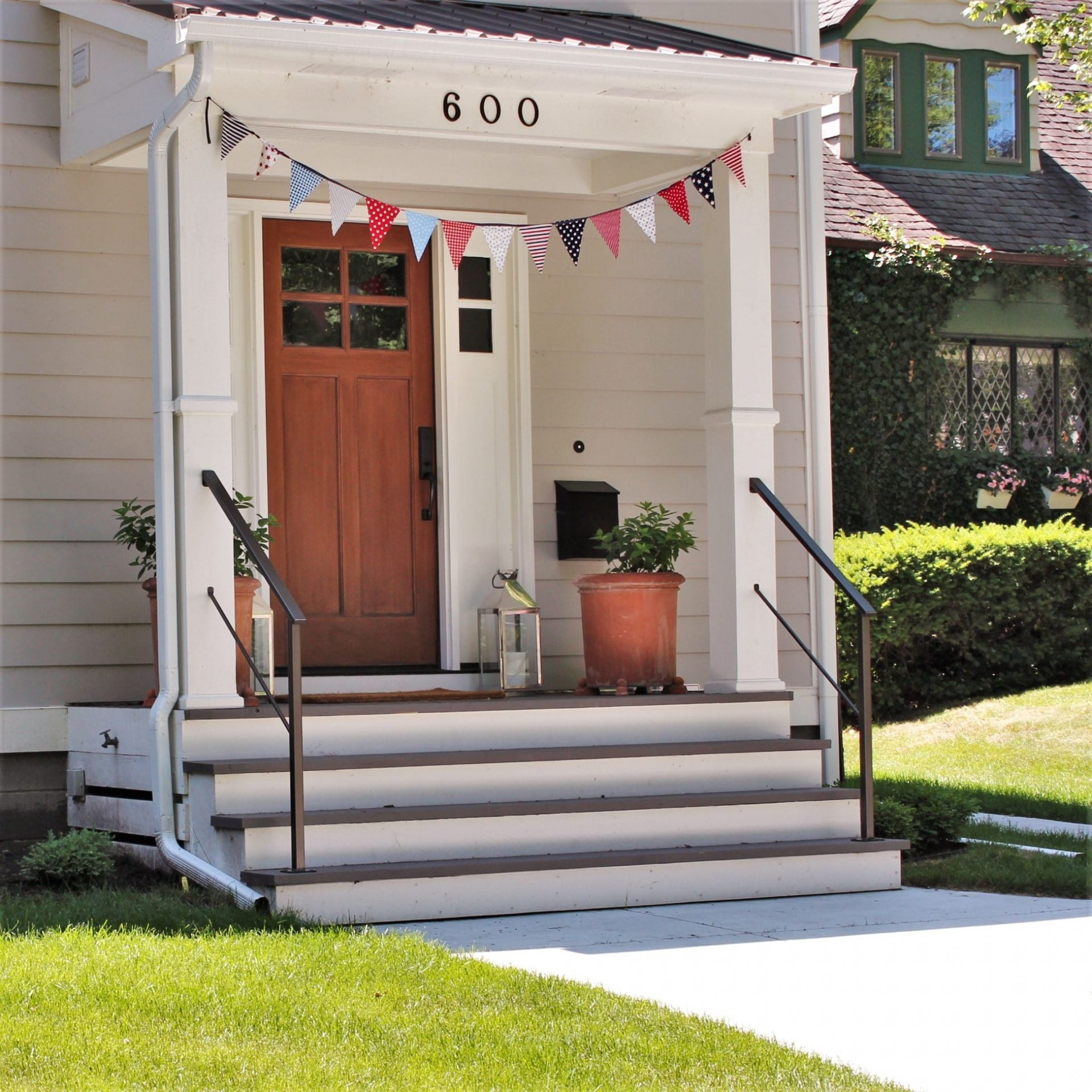 Classic Metal Handrails For Porch Steps Great Lakes Metal | Exterior Handrails For Steps | Cast Iron | 3 Step | Brushed Nickel | Front Step Railing Pipe | Garden