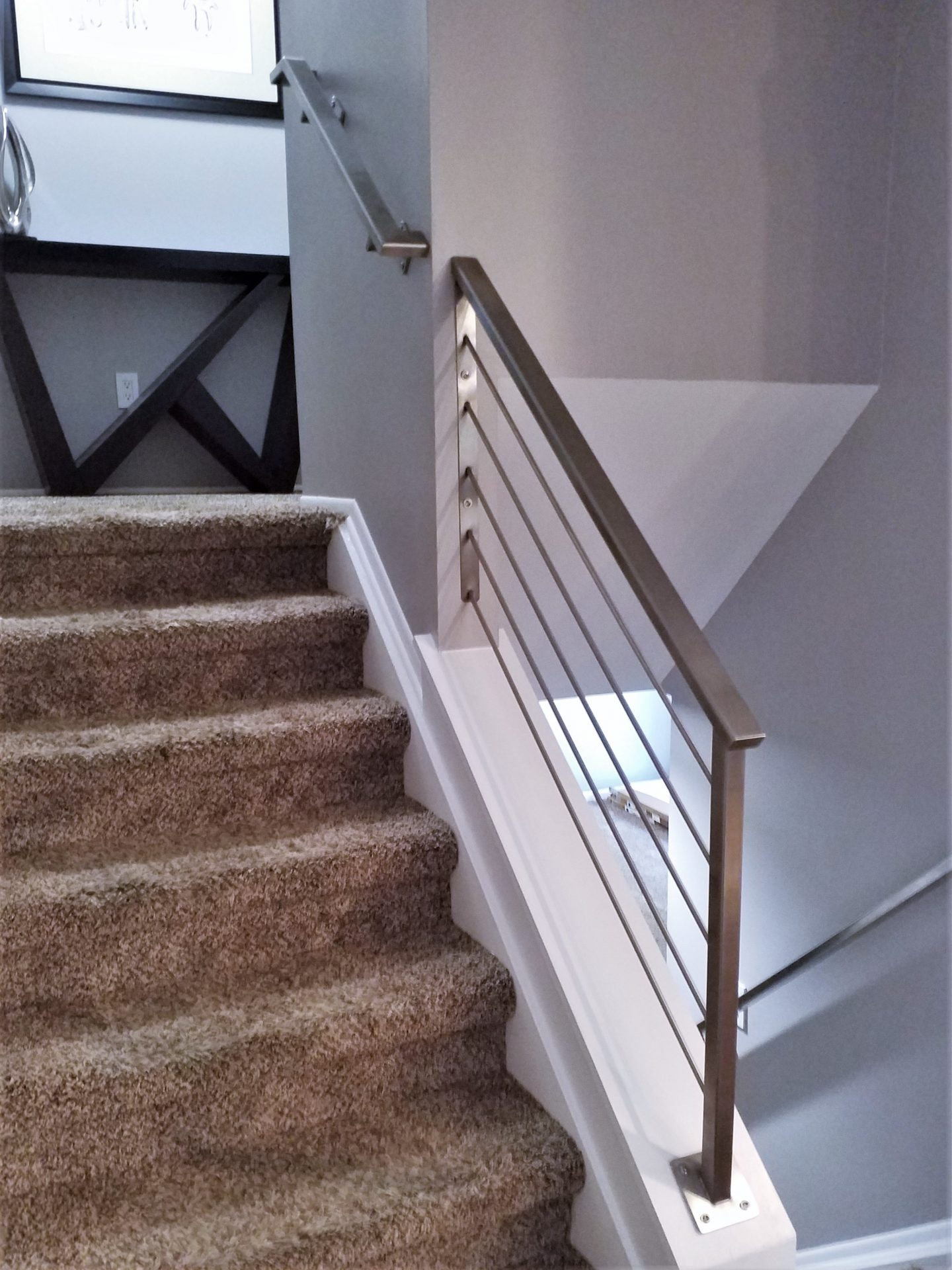 Stainless Steel Handrail Stair Railing Great Lakes Metal Fabrication   Steel Hand Railing For Stairs   Rustic   Exterior   Backyard   Low Cost   Decorative