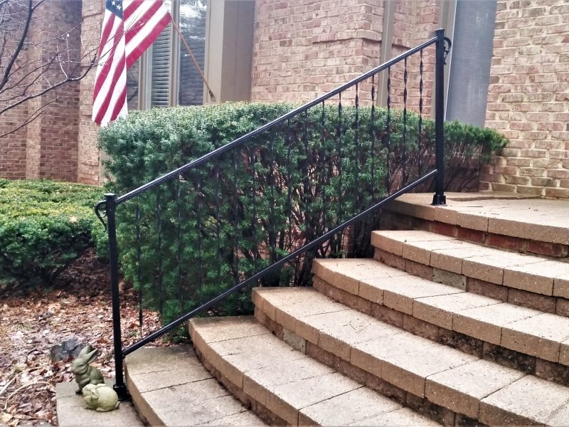 Traditional Wrought Iron Porch Railing Great Lakes Metal Fabrication | Outdoor Railings For Steps | Exterior | Outside | Residential | Staircase | Interior
