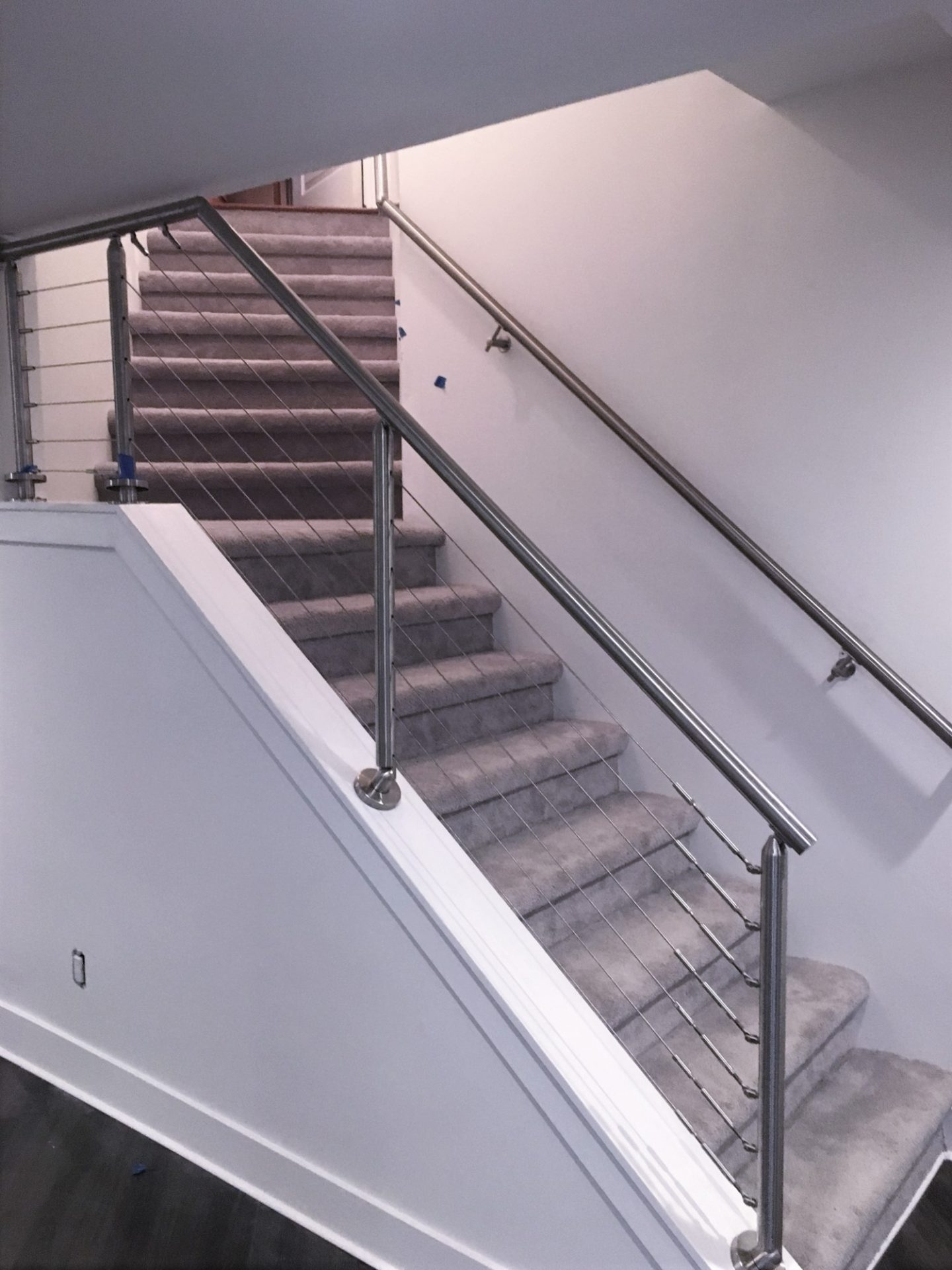 Stainless Steel Cable Railing Kit Great Lakes Metal Fabrication   Steel Railing For Steps   Balustrade   Simple   Fabrication   Carbon Steel   Wooden