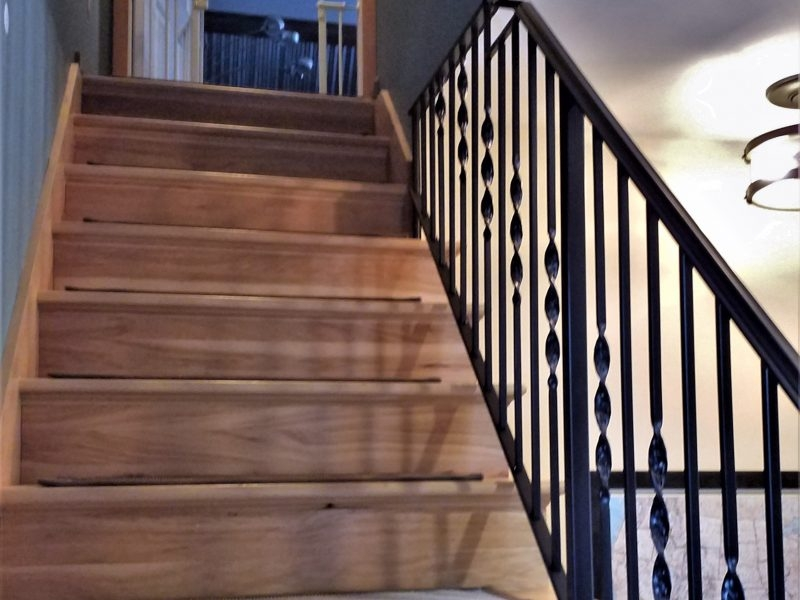 Twisted Wrought Iron Stair Railing Great Lakes Metal Fabrication | Wood And Rod Iron Railing | Wooden | Dark Stained | Wrought Iron | Pipe | Simple Modern