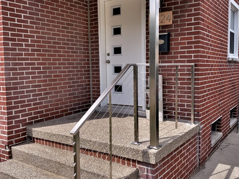 Stainless Steel Porch Rail With Cable Great Lakes Metal Fabrication   Railings For Brick Steps   Steel Handrail   Front Door   Staircase   Railing Ideas   Handrails