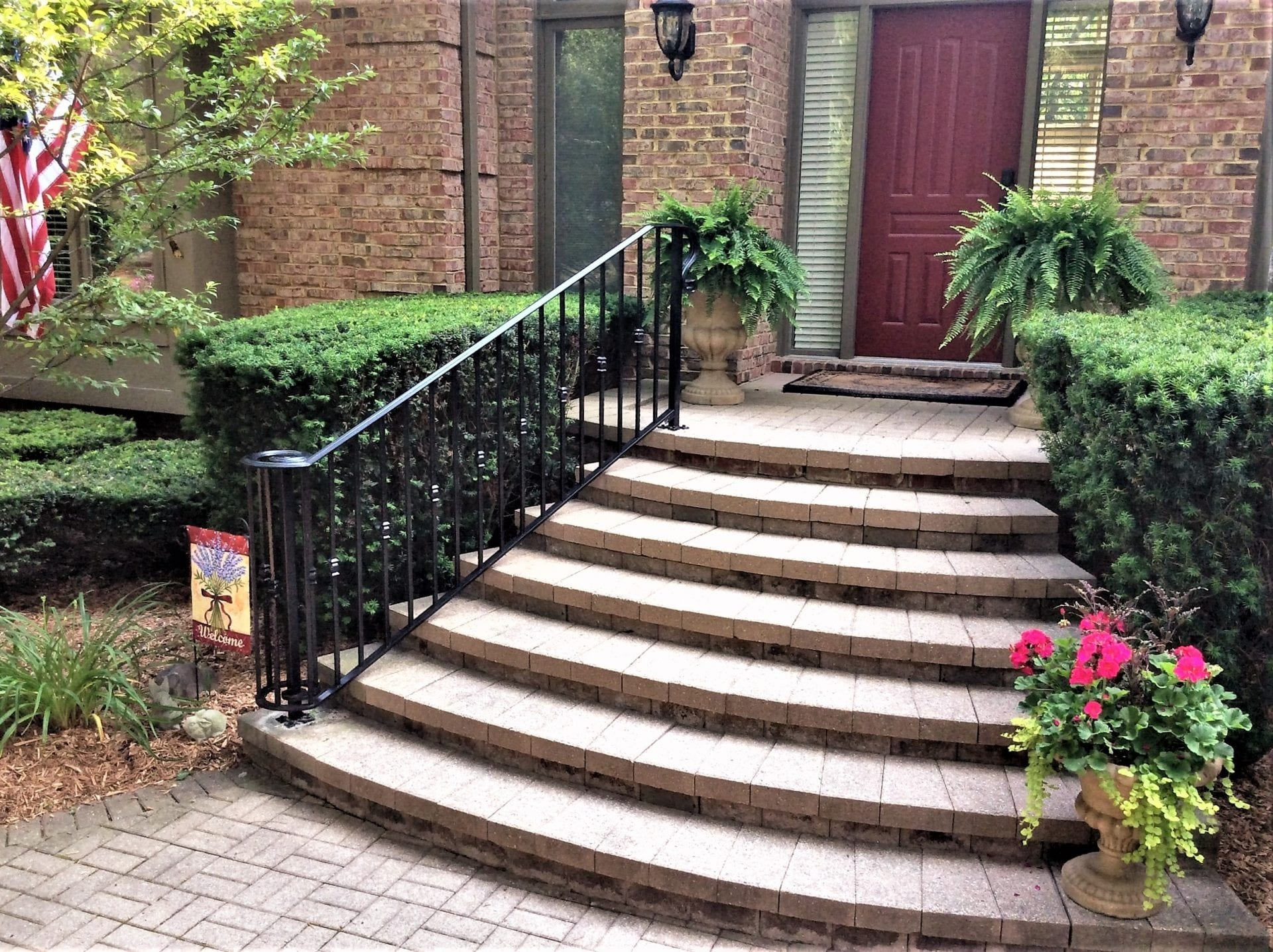 Traditional Wrought Iron Porch Railing Great Lakes Metal Fabrication   Wrought Iron Handrails For Outside Steps   Front Porch   Stair Covering   Metal