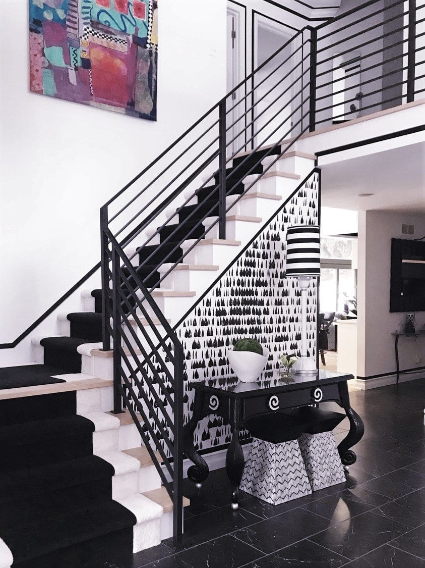 Horizontal Flat Bar Railing For Black And White Interior Great | Black Steel Stair Railing | Custom | Wood | Residential Indoor Residential Glass | Stainless Steel | Concrete