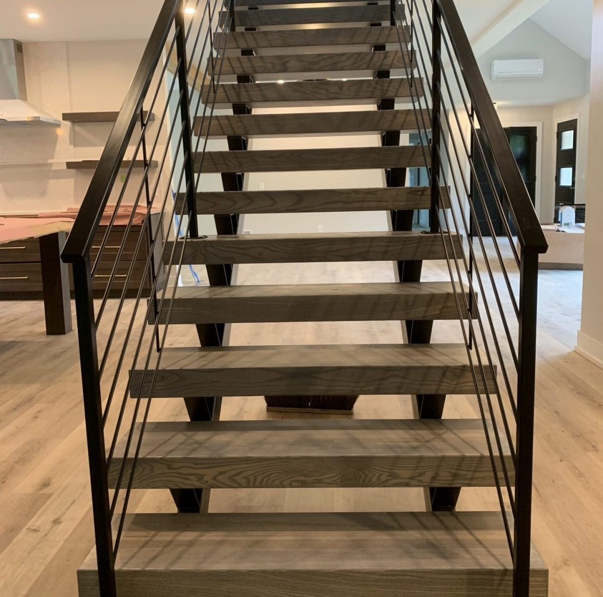 Double Stringer Floating Stairs Great Lakes Metal Fabrication   Metal And Wood Stairs   Straight   Diy   Residential   Rustic   Stair Railing