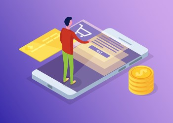 Online banking and Shoping, Mobile payments,  Transfer money isometric concept. Vector illustration.