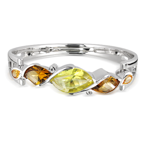 Lemon Quartz and Smoky Quartz Cuff Bracelet