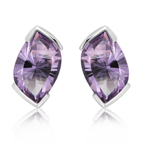 Amethyst Laser faceted Silver Studs