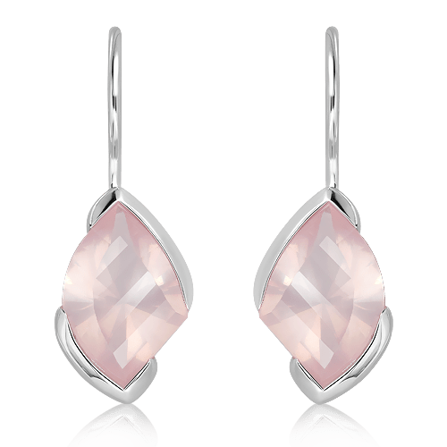 Special Faceted Rose Quartz Silver Earrings