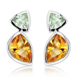 Laser Faceted Green Amethyst and Citrine Silver Studs