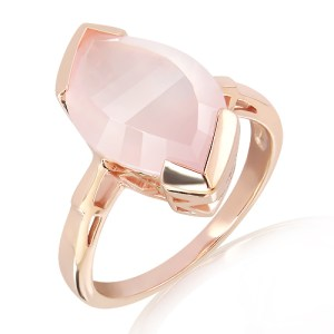 Laser Cut Rose Quartz Ring in Rose Gold