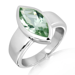Green Amethyst Laser faceted Silver Ring
