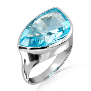 Laser Cut Blue Topaz in Sterling Silver ring