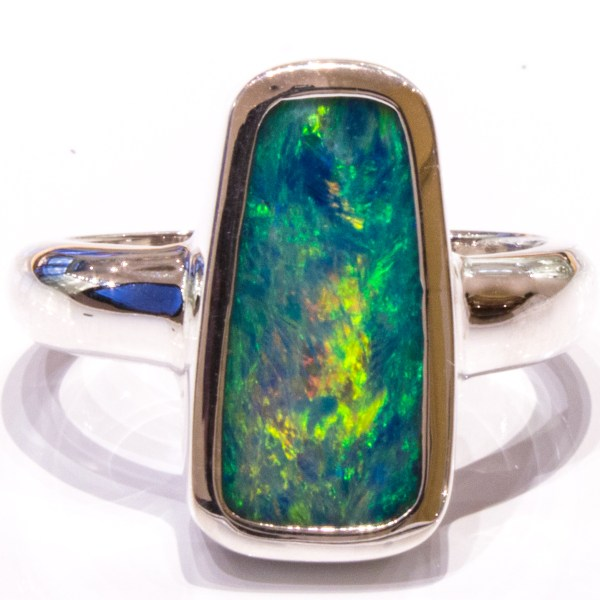 Handmade Sterling Silver Ring with Australian Opal