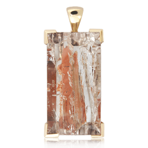 Gold Handmade Pendant with Glacier Quartz