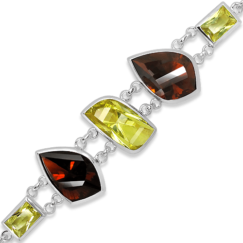 Handmade Sterling Silver Rhodium Plated Bracelet with Laser Cut Cognac Quartz and Lemon Quartz
