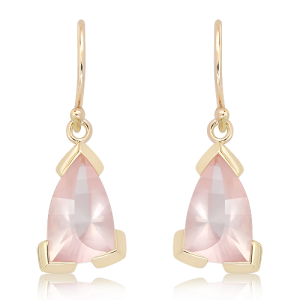 Laser Cut Rose Quartz Earrings in Gold