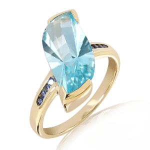 Laser Cut Blue Topaz and Iolites Gold Ring