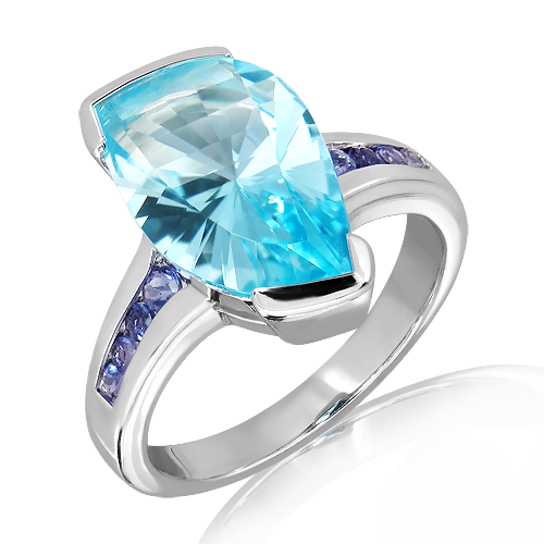 Blue Topaz Laser faceted Silver Ring