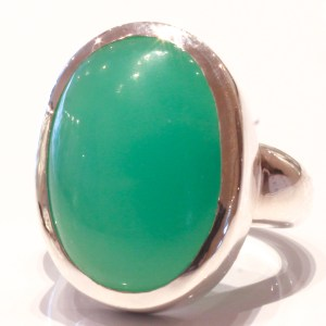 Handmade Sterling Silver Ring with natural Chrysoprase