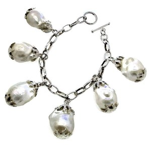 Baroque Deep Sea Pearls in Silver Bracelet