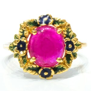 Enamel Italian Ring with Ruby