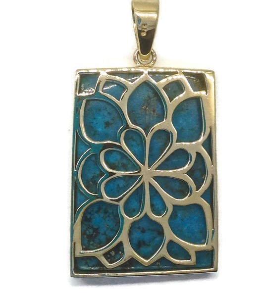 Handmade Gold Pendant with Natural Arizona Turquoise