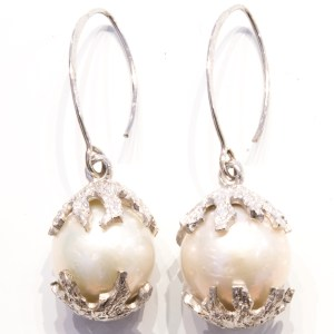 Baroque Deep Sea Pearls in Handmade Sterling Silver Earrings