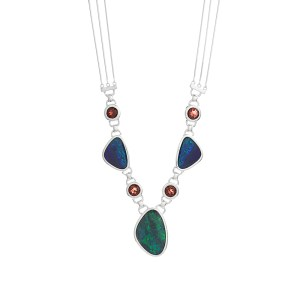 Handmade Silver Necklace with Opal and Garnets