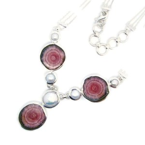 Handmade Silver Necklace with Rhodochrosite and Pearls