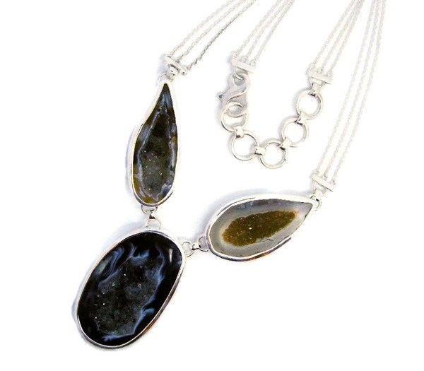 Handmade Sterling Silver Necklace with Druzy Quartz