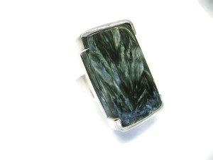 Handmade Silver Ring with Natural Seraphinite