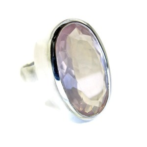 Faceted Rose Quartz Handmade Silver Ring