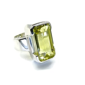Lemon Quartz Silver Ring
