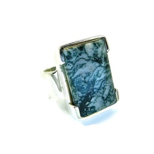 Moss Agate Handmade Silver Ring