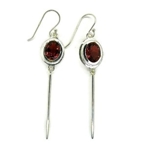 Garnet Handmade Silver Earrings