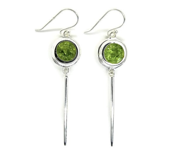 Peridots in Handmade Silver Earrings