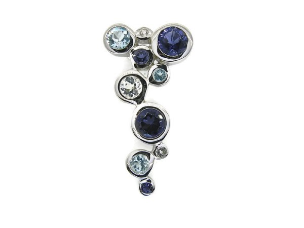 Sterling Silver Pendant with Natural Iolites and Blue Topaz