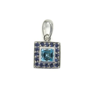 Contemporary Silver Pendant with Blue Topaz and Iolites