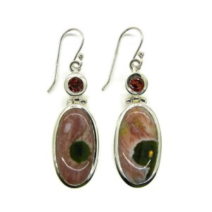 Ocean Jasper and Garnets Earrings