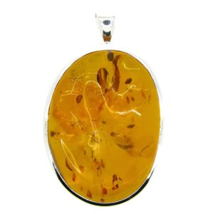 Handmade Sterling Silver Pendant with Baltic Amber