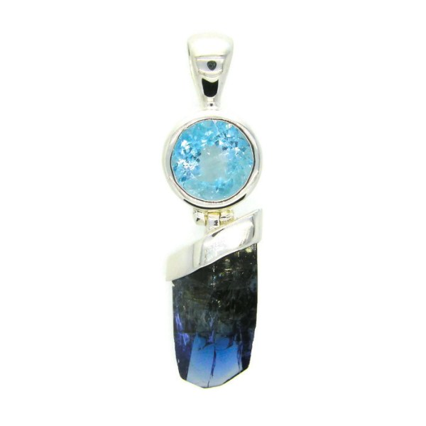 Natural Tanzanite Crystal and Blue Topaz Handmade Sterling Silver Pendant