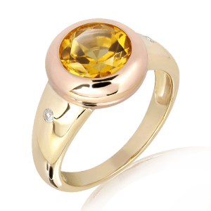 Rose and Yellow Gold Ring with Citrine and Diamonds