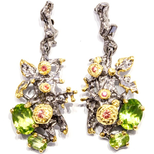 Dark Rhodium & Gold Plated Silver Earrings with Stones
