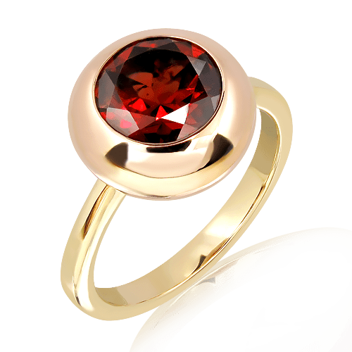 Rose and Yellow Gold Handmade ring with Garnet