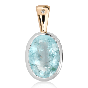 Aquamarine Handmade Pendant in Gold