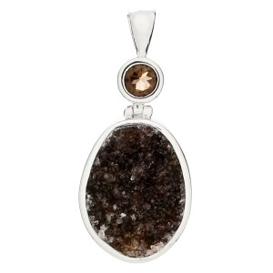 Druzy Quartz and Smoky Quartz Pendant