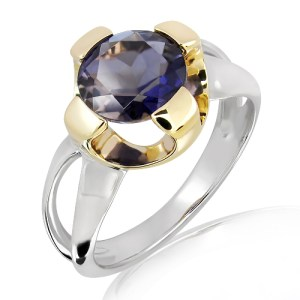 Iolite Ring in Gold and Silver