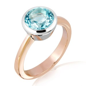 Blue Topaz Ring in Rose Gold and Silver